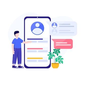 Rejoignez le forum, sélectionnez un compte, connectez-vous au vecteur d'illustration de conception conceptuelle