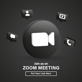 Rejoignez-nous sur le logo 3d de la réunion zoom dans un cercle noir moderne pour les icônes de médias sociaux ou rejoignez-nous bannière