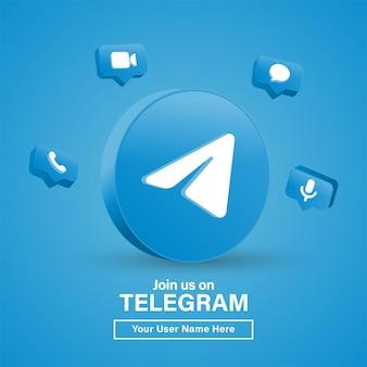 Rejoignez-nous sur le logo télégramme 3d dans un cercle noir moderne pour les icônes de médias sociaux ou contactez-nous bannière