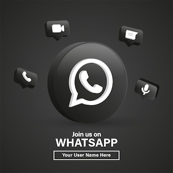 Rejoignez-nous sur le logo whatsapp 3d dans un cercle noir moderne pour les icônes de médias sociaux ou contactez-nous bannière