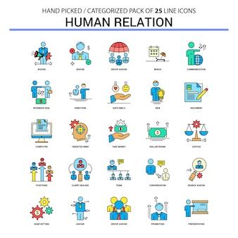 Relation humaine ligne plate icon set