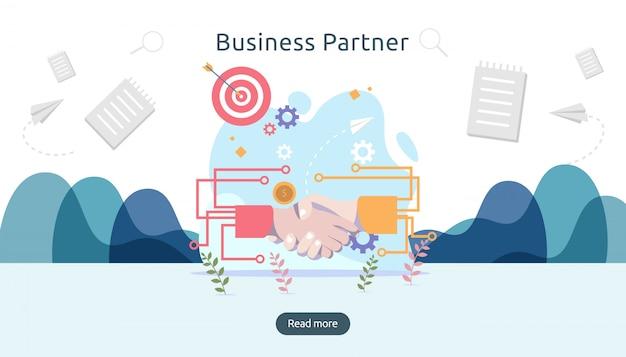 Relation de partenariat d'entreprise avec poignée de main et personnage minuscule concept de travail d'équipe.