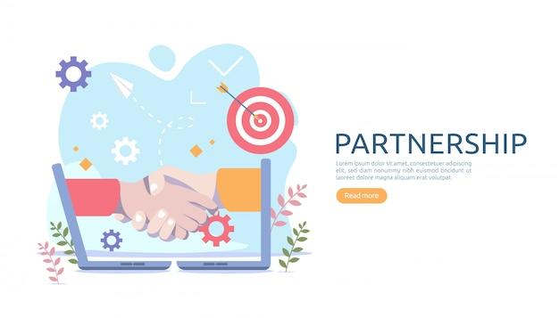 Relation de partenariat d'entreprise avec poignée de main et personnage minuscule