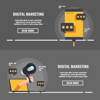 Relations publiques sur internet, publicité dans les médias, jeu de bannière de marketing numérique