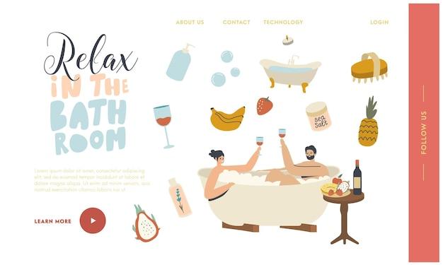 Relaxation, soins du corps bien-être, modèle de page de destination pour la date de lune de miel
