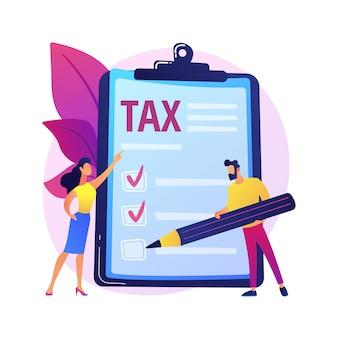 Releve de revenue. personnage de dessin animé de contribuable. compter l'idée de profit. processus comptable, analyse financière, facture électronique. document de paiement