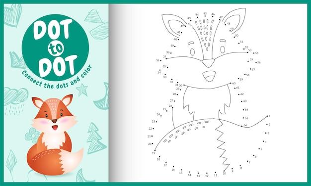 Reliez le jeu et la page de coloriage pour enfants dots avec un joli personnage de renard
