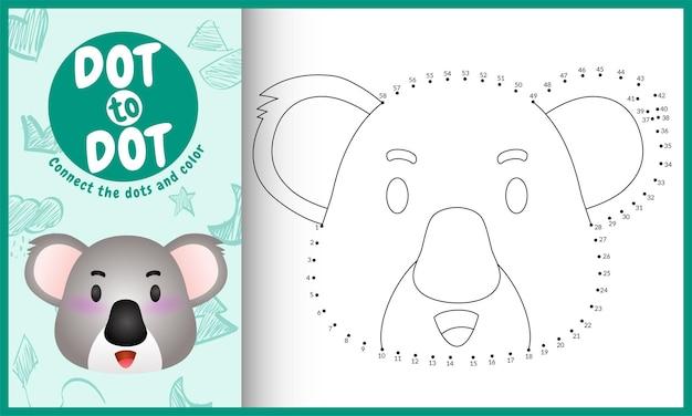 Reliez le jeu et la page de coloriage pour enfants dots avec un koala mignon