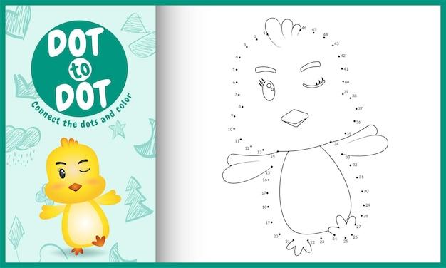 Reliez le jeu et la page de coloriage pour enfants dots avec un poussin mignon