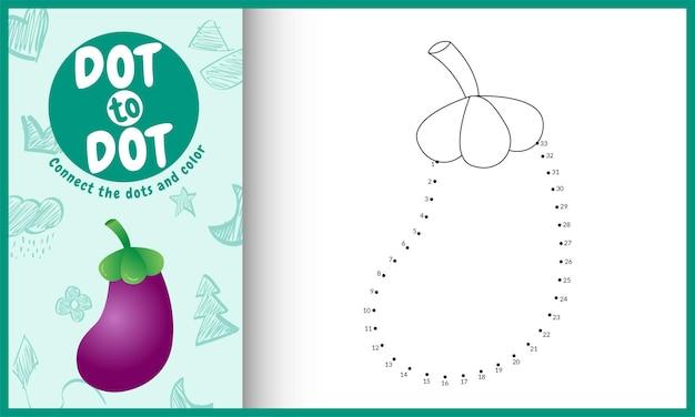 Reliez le jeu et la page de coloriage pour enfants à points avec une illustration d'aubergine