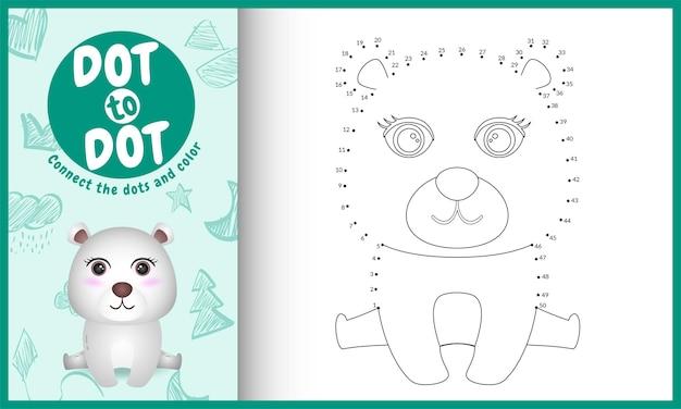 Reliez le jeu et la page de coloriage pour enfants à points avec une illustration de personnage mignon ours polaire