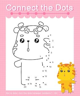 Reliez les jeux de points de girafe point à point pour les enfants en comptant le numéro 20