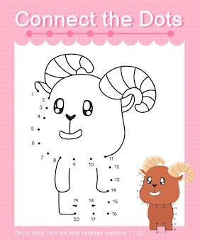 Reliez les jeux de points ibex point à point pour les enfants en comptant le numéro 20