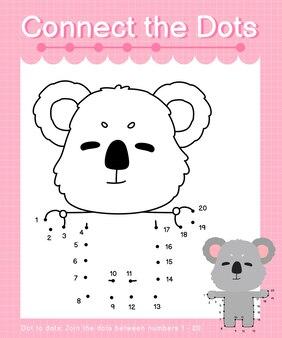 Reliez les jeux de points koala point à point pour les enfants en comptant le numéro 20