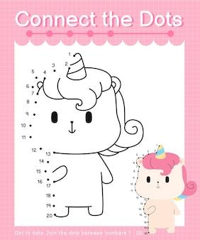 Reliez les jeux de points à points unicorn pour les enfants en comptant les numéros 1 à 20