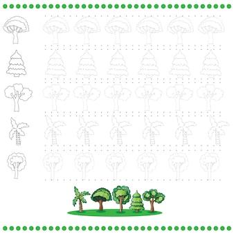 Reliez le nombre de points d'images - exercice pour les enfants - arbres