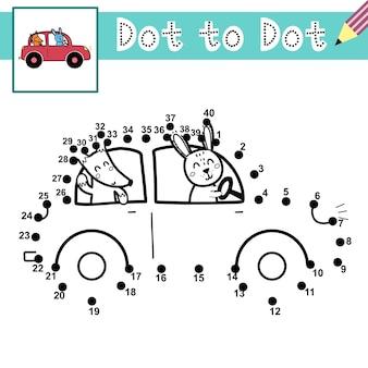 Reliez les points et dessinez un lapin et un renard mignons au volant d'une voiture jeu de point à point avec des animaux amusants page éducative pour les enfants