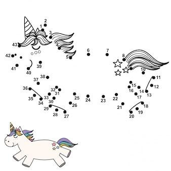 Reliez les points et dessinez une licorne mignonne. jeu de nombres pour les enfants. illustration