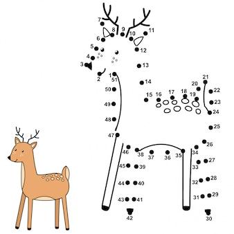 Reliez les points et dessinez un mignon cerf. jeu de nombres pour les enfants. illustration