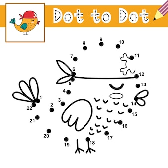 Reliez les points et dessinez un oiseau pirate mignon jeu de point à point page éducative pour les enfants