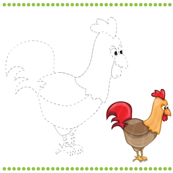 Reliez les points et la page à colorier du coq de ferme drôle