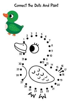 Reliez les points et la page à colorier duck vector illustration