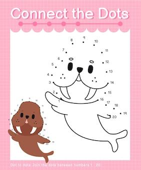 Reliez les points walrus jeux de points à points pour les enfants en comptant les numéros 1 à 20