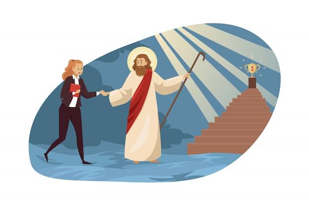 Religion, christianisme, entreprise, soutien, concept de réussite