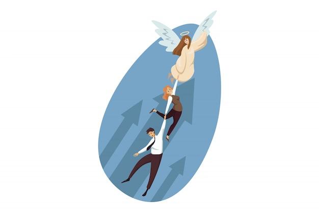 Religion, christianisme, soutien, démarrage, succès, concept de réalisation des objectifs