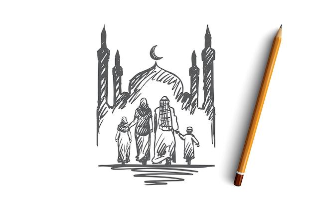 Religion, famille, musulman, arabe, islam, concept de mosquée. main dessinée famille musulmane traditionnelle avec croquis de concept pour enfants.