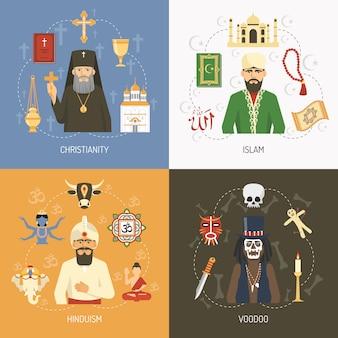 Religions éléments et personnages du concept