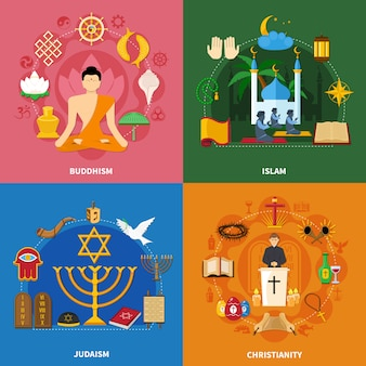 Religions Icon Set Vecteur gratuit
