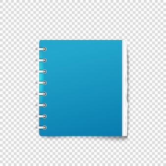 Reliure papier sur maquette de vecteur de fond transparent