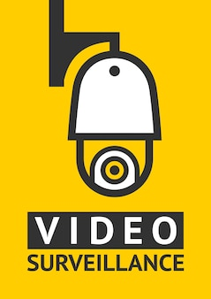 Remarquez l'autocollant de symbole de vidéosurveillance pour l'impression.