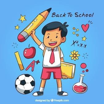 Remis à la main au fond de l'école avec un garçon