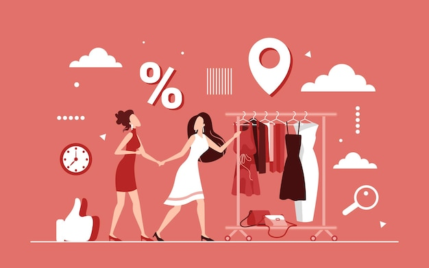 Remise des achats sur le concept de vêtements féminins, vente saisonnière