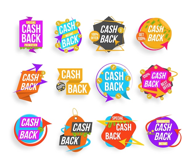 Remise en argent, ensemble de lettres colorées. collection de bannières de cashback. super vente, meilleures phrases de vente, achats, vente au détail, annonce. badges publicitaires pour votre entreprise.