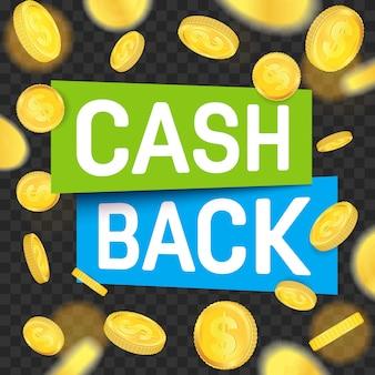 Remise en argent, retour d'argent, étiquette de remboursement.