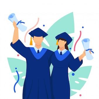 Remise des diplômes célébrer illustration plat couple