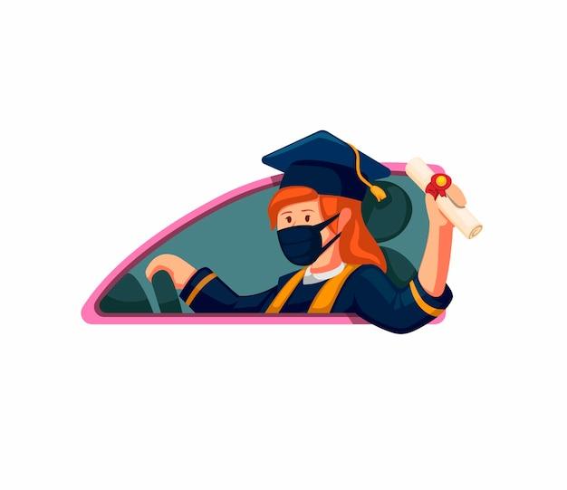 Remise des diplômes fille célébrer sur voiture avec masque de port dans de nouvelles activités normales sur illustration de dessin animé sur fond blanc