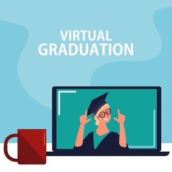 Remise des diplômes virtuelle par concept d'ordinateur portable