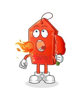 Remise étiquette manger mascotte de dessin animé de piment chaud