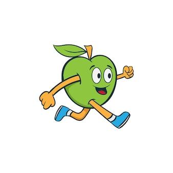Remise en forme courir illustration de dessin animé de mascotte de fruits