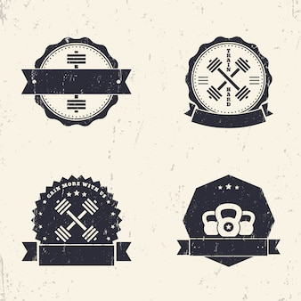 Remise en forme, logos grunge gym, insignes, signes avec haltères croisées, illustration