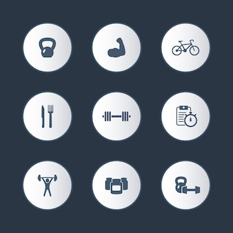 Remise en forme, sport, ensemble d'icônes rondes de gym
