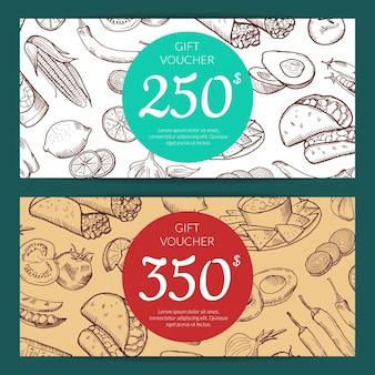 Remise ou modèle de bon avec des éléments de cuisine mexicaine esquissés pour illustration de restaurant, boutique ou café