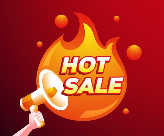 Remise de vente chaude avec un symbole de feu et de mégaphone