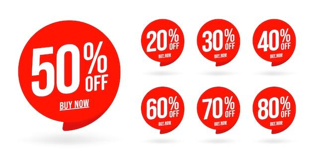 Remise de vente définie l'emblème du produit avec un pourcentage de vente.