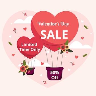 Remise de vente design plat saint valentin