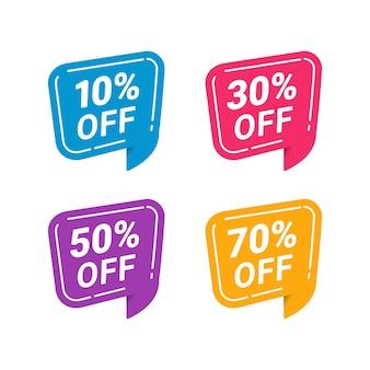 Remise de vente avec prix et couleurs différents